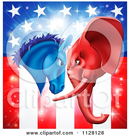 Cartoon Of A Political Democratic Donkey And Republican Elephant Elephant Butting Heads Over An American Flag - Royalty Free Vector Clipart by AtStockIllustration