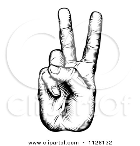 Clipart Of A Black And White Woodcut Victory Hand - Royalty Free Vector Illustration by AtStockIllustration