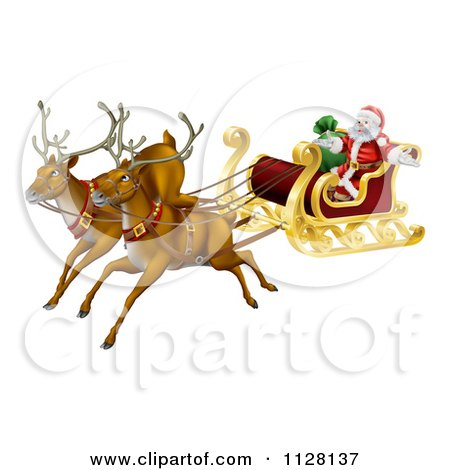 Cartoon Of Magic Flying Christmas Reindeer And Santa In A Sleigh - Royalty Free Vector Clipart by AtStockIllustration