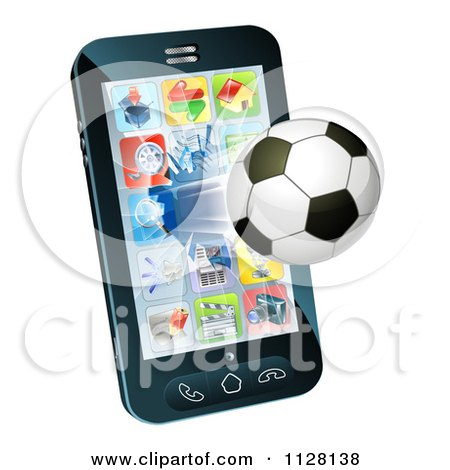 Clipart Of A 3d Soccer Ball Flying Through And Breaking A Smart Cell Phone Screen - Royalty Free Vector Illustration by AtStockIllustration