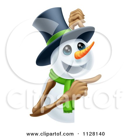 Cartoon Of A Happy Snowman In A Top Hat And Green Scarf Pointing To A Sign - Royalty Free Vector Clipart by AtStockIllustration