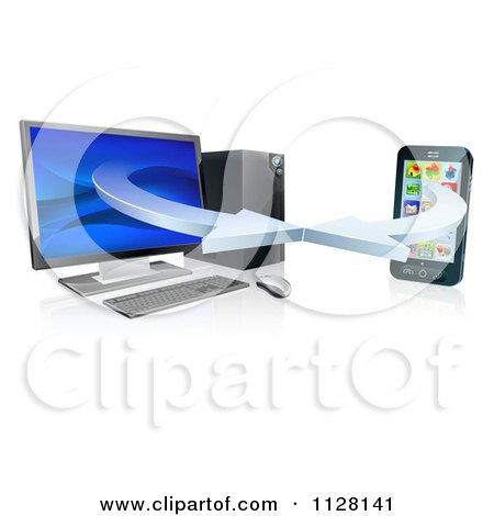 Clipart Of A 3d Desktop Computer And Cell Phone Syncing Together - Royalty Free Vector Illustration by AtStockIllustration