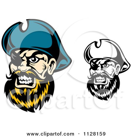 Clipart Of Angry Pirate Faces With Eye Patches 1 - Royalty Free Vector Illustration by Vector Tradition SM