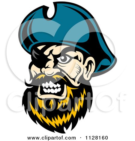 Clipart Of An Angry Pirate Face With A Blond Beard And Eye Patch - Royalty Free Vector Illustration by Vector Tradition SM