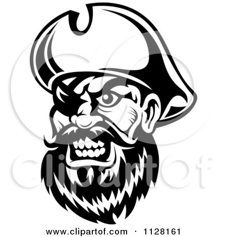 Clipart Of An Angry Black And White Pirate Face With An Eye Patch 1 - Royalty Free Vector Illustration by Vector Tradition SM