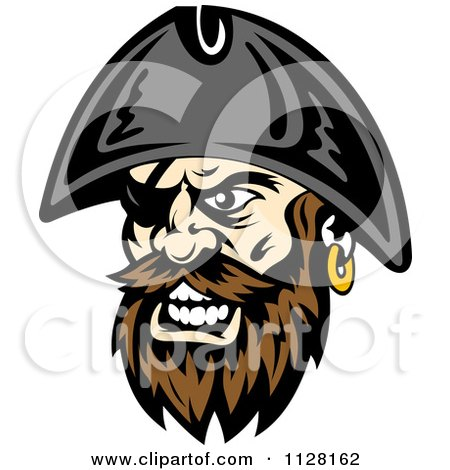 Clipart Of An Angry Pirate Face With A Brown Beard And Eye Patch - Royalty Free Vector Illustration by Vector Tradition SM