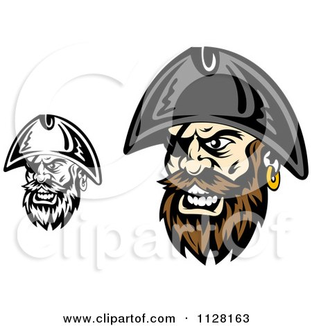 Clipart Of Angry Pirate Faces With Eye Patches 2 - Royalty Free Vector Illustration by Vector Tradition SM