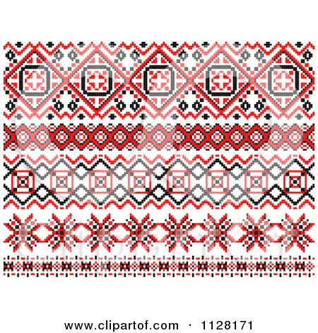 Clipart Of Red Black And White Native American Border Designs - Royalty Free Vector Illustration by Vector Tradition SM