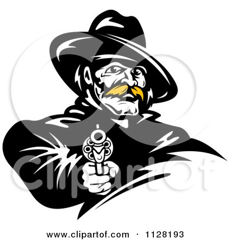 Clipart Of A Black And White Cowboy With A Blond Mustache Pointing A Pistol - Royalty Free Vector Illustration by Vector Tradition SM
