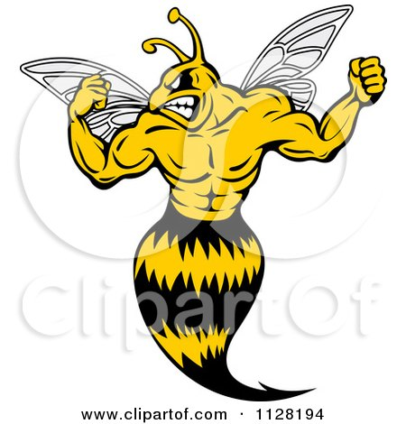 Clipart Of A Strong Yellow Jacket Flexing - Royalty Free Vector Illustration by Vector Tradition SM