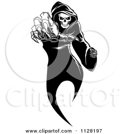 Clipart Of A Black And White Grim Reaper Reaching - Royalty Free Vector Illustration by Vector Tradition SM