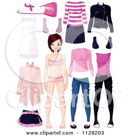 Cartoon Of A Doll Girl With Pink Black And White Clothing - Royalty Free Vector Clipart by Pushkin