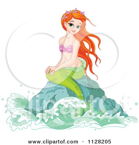 Cartoon Of A Beautiful Red Haired Mermaid On A Rock - Royalty Free Vector Clipart by Pushkin