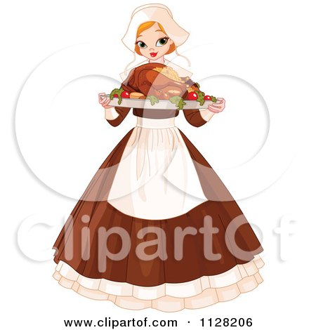 Cartoon Of A Thanksgiving Pilgrim Woman Serving A Roasted Turkey - Royalty Free Vector Clipart by Pushkin