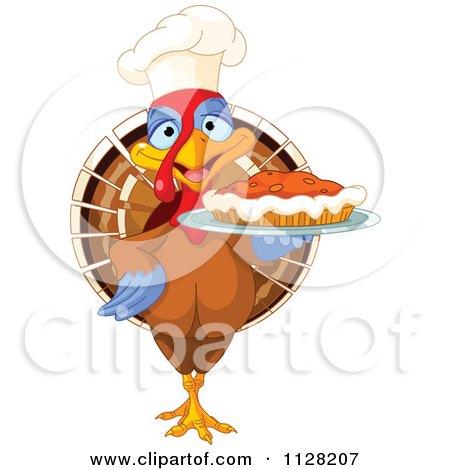 Cartoon Of A Cute Chef Turkey Bird Serving A Thanksgiving Pumpkin Pie - Royalty Free Vector Clipart by Pushkin