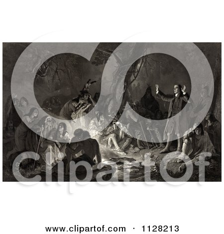 David Zeisberger Preaching To The Native Americans Around A Fire - Royalty Free Historical Illustration by JVPD