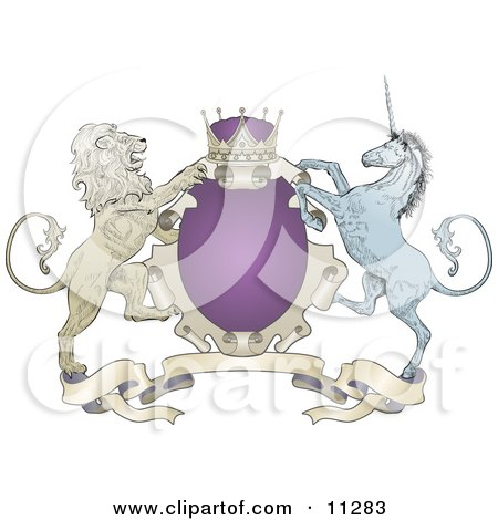 Purple Crown, Lion, and Blue Unicorn on a Coat of Arms Clipart Illustration by AtStockIllustration