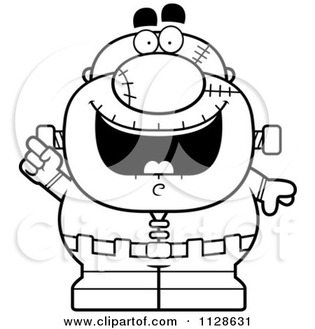 Clipart Pudgy Frankenstein Getting Shocked Royalty Free