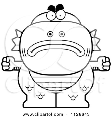 angry monster coloring pages | Cartoon Clipart Of An Outlined Angry Fish Man Monster ...