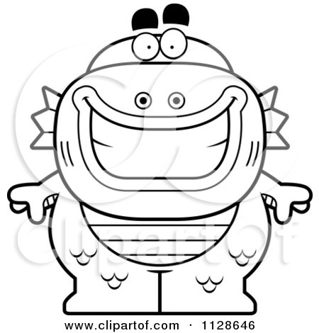 Cartoon Clipart Of An Outlined Happy Fish Man Monster