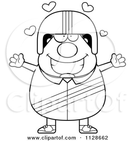 Cartoon Clipart Of An Outlined Amorous Race Car Driver - Black And White Vector Coloring Page by Cory Thoman