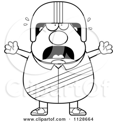 Cartoon Clipart Of An Outlined Frightened Race Car Driver - Black And White Vector Coloring Page by Cory Thoman