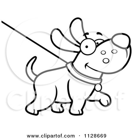 Cartoon Clipart Of An Outlined Happy Dog Being Washed On A Leash - Black And White Vector Coloring Page by Cory Thoman