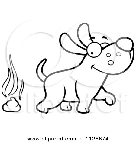 cartoon clipart of an outlined happy dog walking away from poop black and white vector coloring page by cory thoman