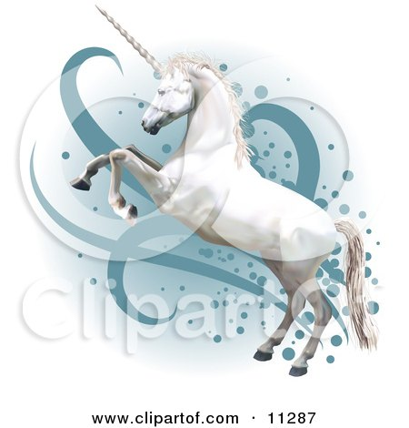 Pretty White Unicorn Rearing up on its Hind Legs Clipart Illustration by AtStockIllustration