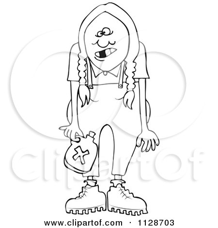 Cartoon Of An Outlined Redneck Hillbilly Woman With Braids - Royalty Free Vector Clipart by djart