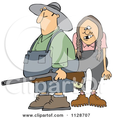 Cartoon Of A Redneck Hillbilly Man And Woman With A Shotgun - Royalty Free Vector Clipart by djart