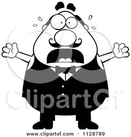 Cartoon Clipart Of A Black And White Panicking Chubby Male Waiter - Vector Clipart by Cory Thoman