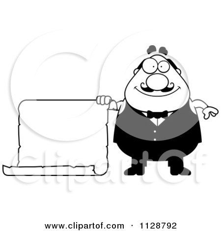 Cartoon Clipart Of A Black And White Happy Chubby Male Waiter Holding A Sign - Vector Clipart by Cory Thoman