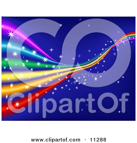 Colorful, Sparkling Rainbow in a Blue Starry Sky Clipart Illustration by AtStockIllustration