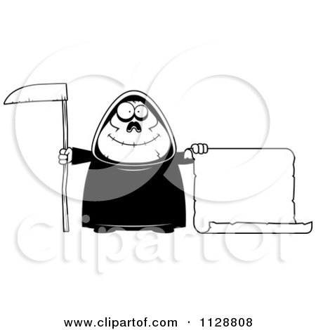 Cartoon Of A Black And White Happy Chubby Grim Reaper With A Sign 2 - Vector Clipart by Cory Thoman