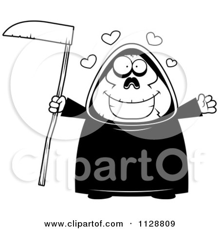 Cartoon Of A Black And White Cartoon Of A Chubby Grim Reaper With Open Arms - Vector Clipart by Cory Thoman