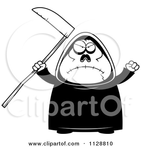 Cartoon Of A Black And White Angry Chubby Grim Reaper - Vector Clipart by Cory Thoman