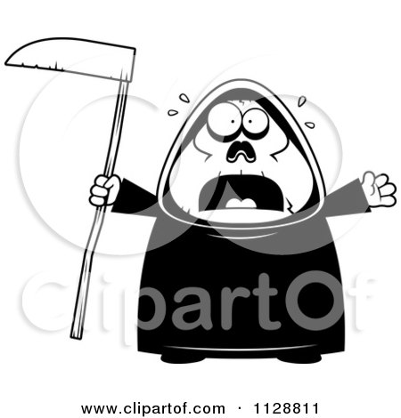 Cartoon Of A Black And White Scared Chubby Grim Reaper - Vector Clipart by Cory Thoman
