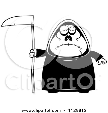 Cartoon Of A Black And White Depressed Chubby Grim Reaper - Vector Clipart by Cory Thoman