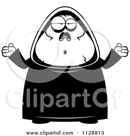 Cartoon Of A Black And White Careless Shrugging Chubby Grim Reaper - Vector Clipart by Cory Thoman