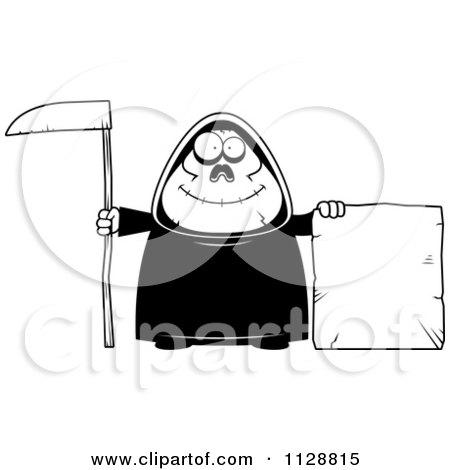Cartoon Of A Black And White Happy Chubby Grim Reaper With A Sign 3 - Vector Clipart by Cory Thoman