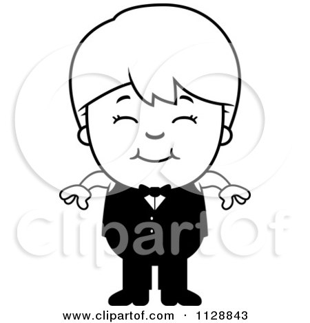 Cartoon Of A Black And White Happy Waiter Boy - Vector Clipart by Cory Thoman