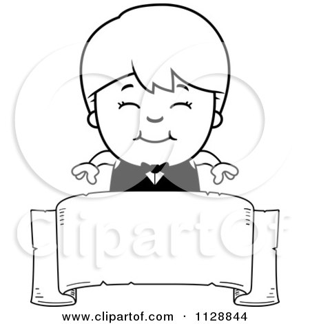 Cartoon Of A Black And White Happy Waiter Boy Over A Banner - Vector Clipart by Cory Thoman