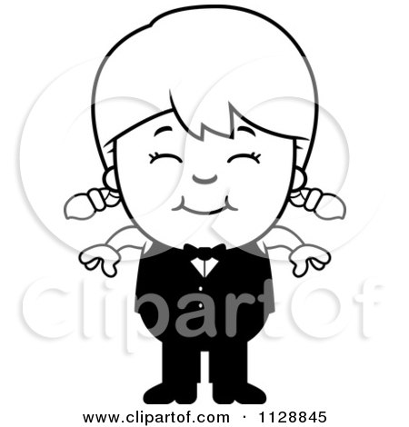 Cartoon Of A Black And White Happy Waiter Girl - Vector Clipart by Cory Thoman