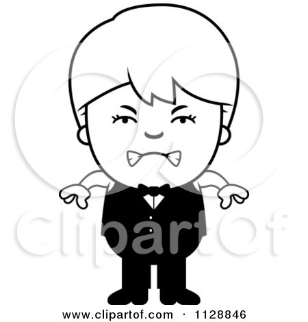 Cartoon Of A Black And White Angry Waiter Boy - Vector Clipart by Cory Thoman