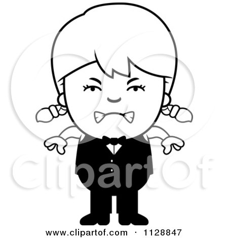 Cartoon Of A Black And White Angry Waiter Girl - Vector Clipart by Cory Thoman