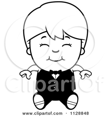 Cartoon Of A Black And White Happy Waiter Boy Sitting - Vector Clipart by Cory Thoman