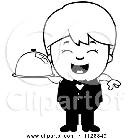 Cartoon Of A Black And White Happy Waiter Boy Carrying A Platter - Vector Clipart by Cory Thoman