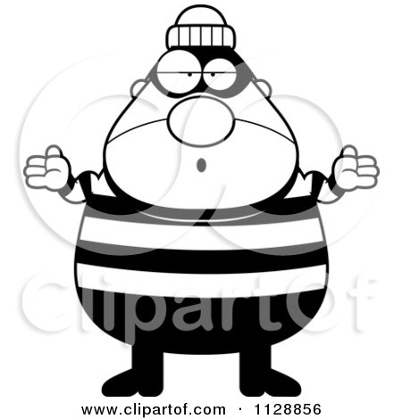 Cartoon Of A Black And White Careless Shrugging Chubby Burglar Or Robber Man - Vector Clipart by Cory Thoman