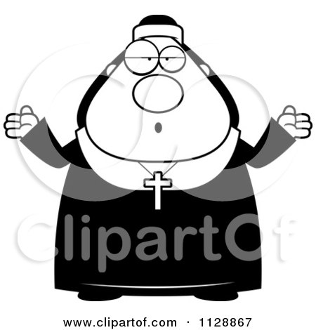 Cartoon Of A Black And White Careless Shrugging Nun In Her Habit - Vector Clipart by Cory Thoman
